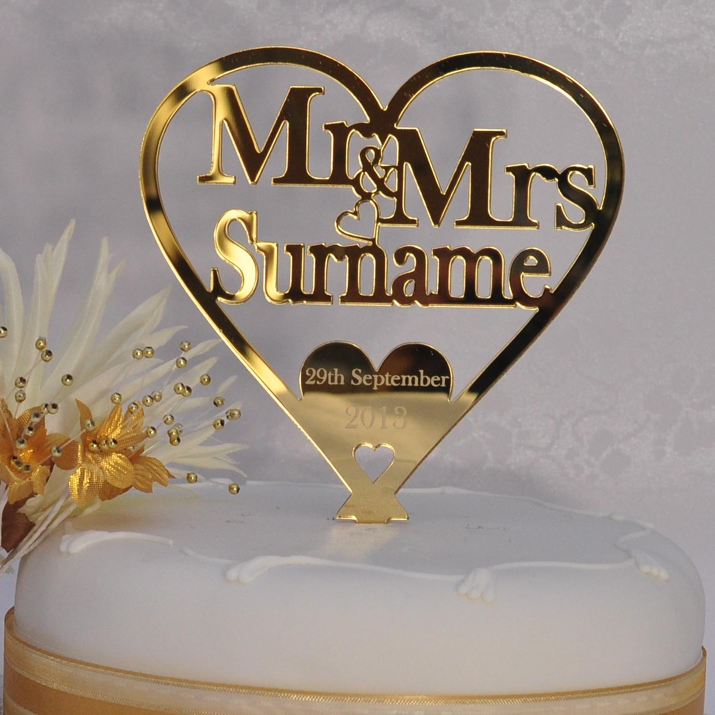 Gold Personalised Wedding Mr & Mrs Heart Cake Topper Keepsake In For Gold Heart Mirror (Image 10 of 20)