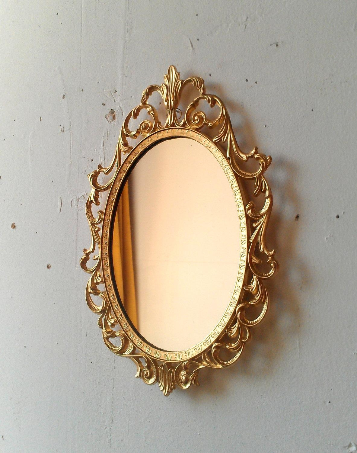 Gold Princess Mirror In Ornate Vintage Oval Frame 107 Inside Vintage Gold Mirrors (Image 11 of 20)