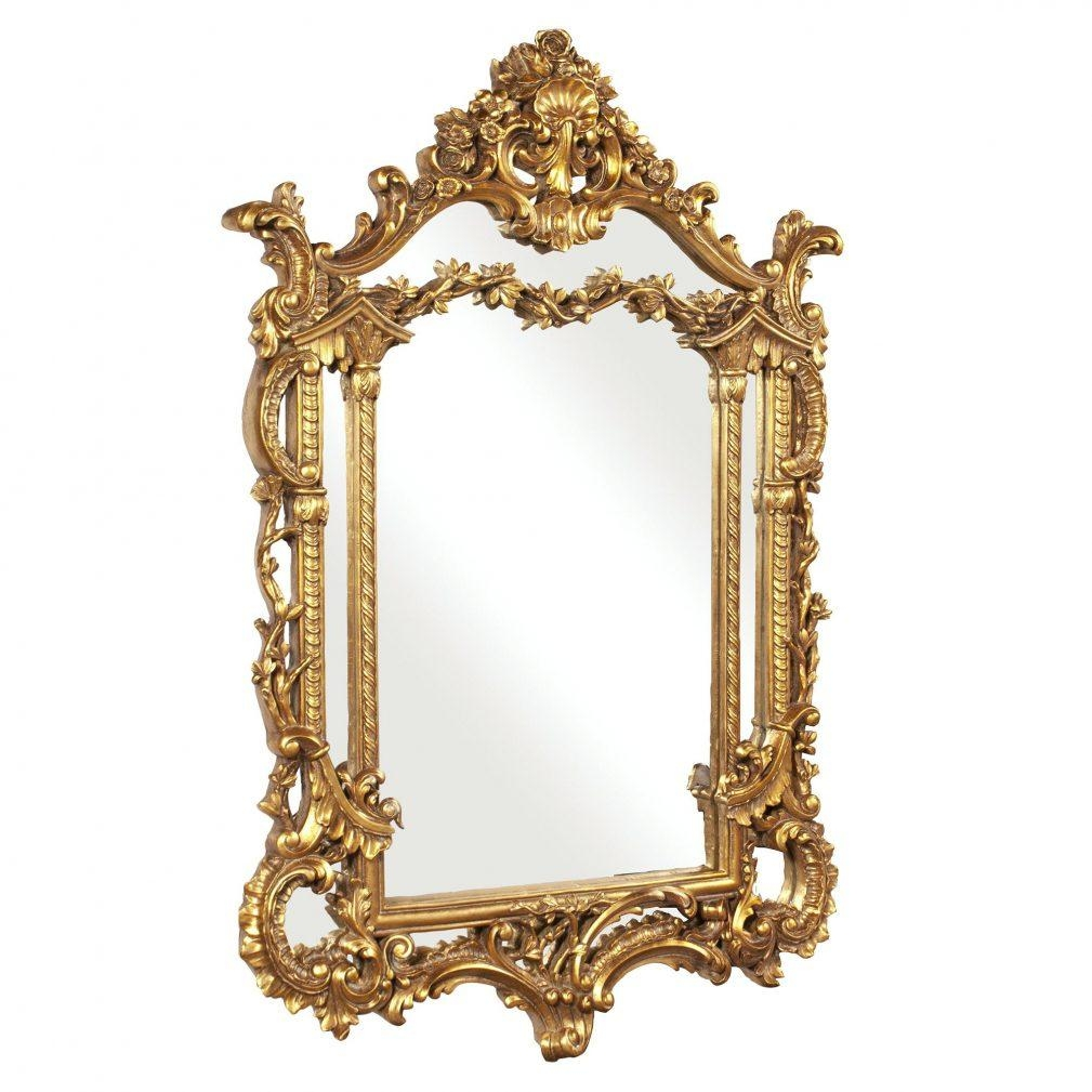 Gold Rectangle Mirror – Amlvideo Intended For Small Baroque Mirror (Image 6 of 20)