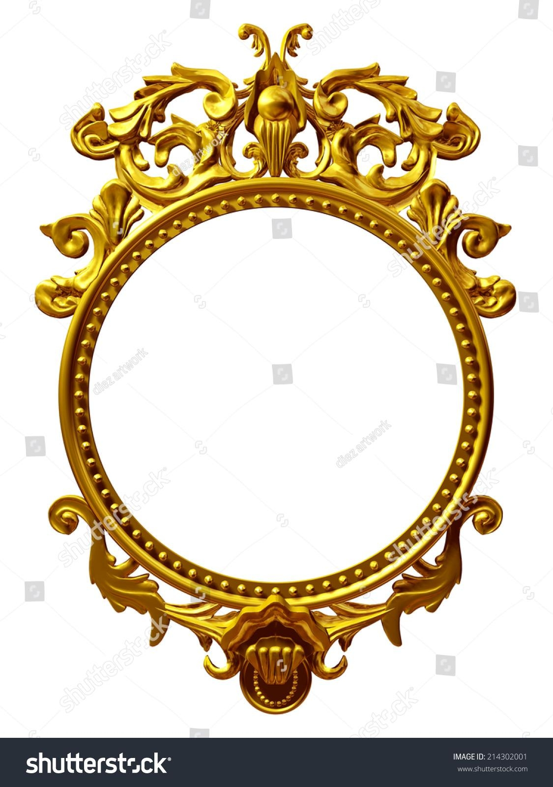 Golden Frame Baroque Ornaments Gold Pictures Stock Illustration With Ornamental Mirror (Image 7 of 20)