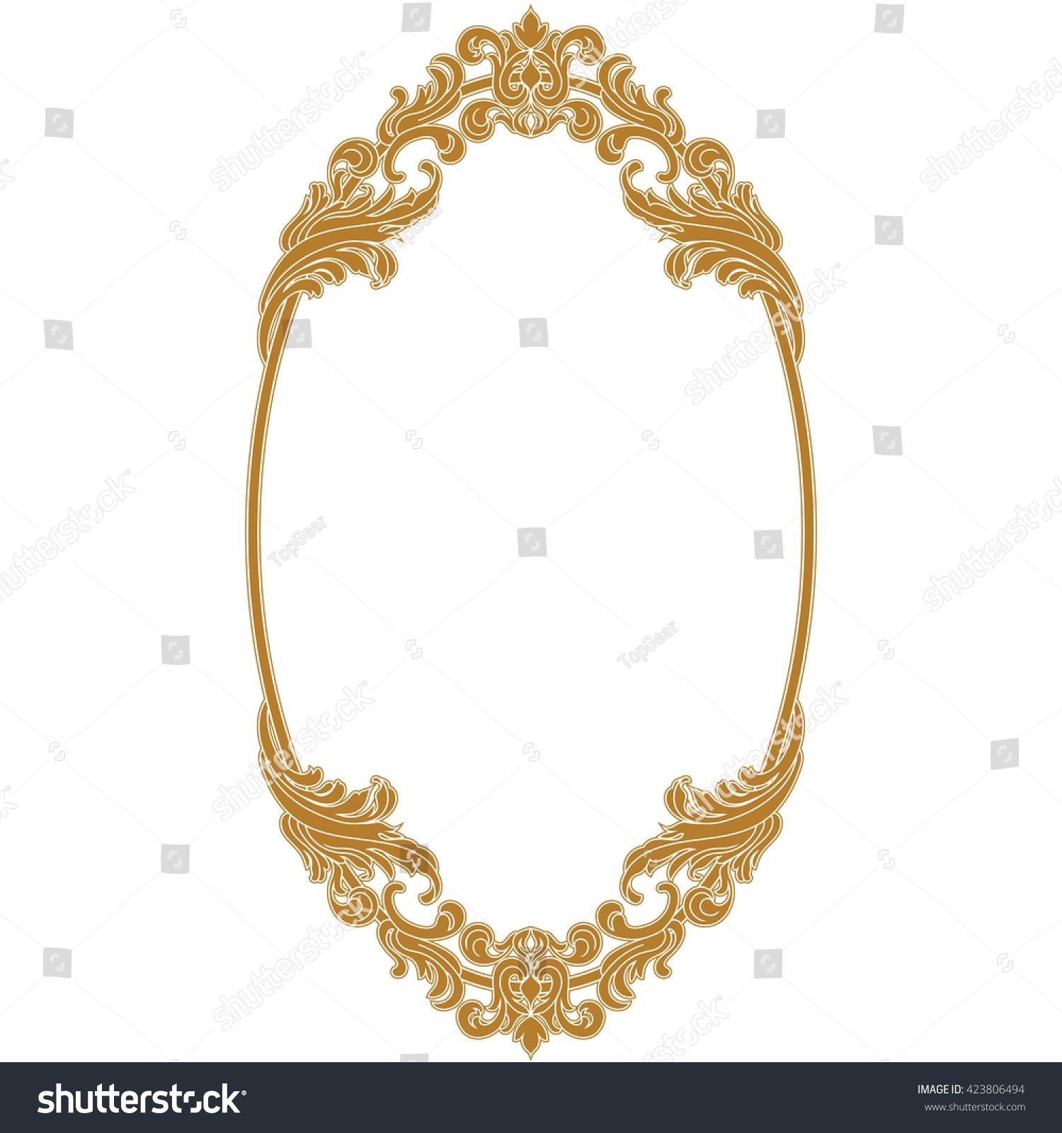 Golden Oval Vintage Frame Oval Mirror Stock Vector 423806494 In Ornamental Mirror (Image 8 of 20)