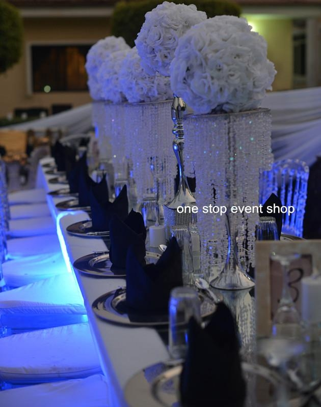 Gorgeous Wedding Flower Stand Centerpiece With Hanging Crystal Regarding Faux Crystal Chandelier Wedding Bead Strands (Image 19 of 25)