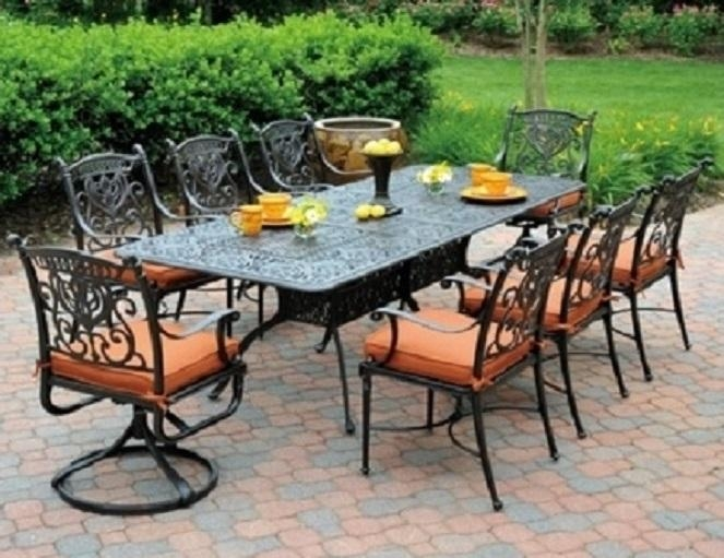 Grand Tuscany 8 Seat Luxury Cast Aluminum Dining Sethanamint Regarding 8 Seat Outdoor Dining Tables (Image 10 of 20)