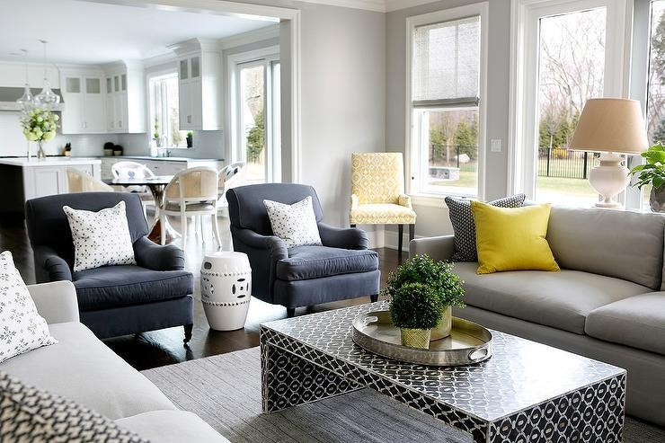 Gray Sofa With Bright Yellow Pillows And Black Waterfall Coffee Throughout Gray Sofas (Image 16 of 20)