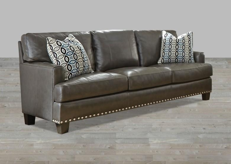 Gray Top Grain Leather Club Chair With Nailhead Trim Within Brown Leather Sofas With Nailhead Trim (Image 12 of 20)