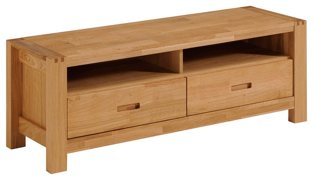 Great Best Contemporary Oak TV Stands In Ethan French Oak Tv Stand With 2 Drawers And Shelves (Image 23 of 50)