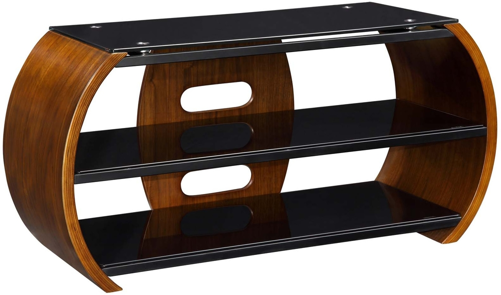 Great Best Curve TV Stands Pertaining To Jual Curved Side Modern Tv Stand With 2 Shelves Walnut Tv (View 44 of 50)