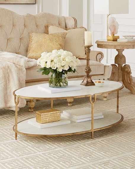 Great Best Marble Coffee Tables Throughout Global Views Olivia Marble Top Coffee Table (View 9 of 50)