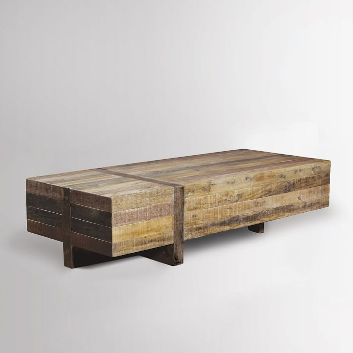 Great Best Reclaimed Wood And Glass Coffee Tables With Regard To Emmerson Reclaimed Wood Block Coffee Table West Elm (View 16 of 50)