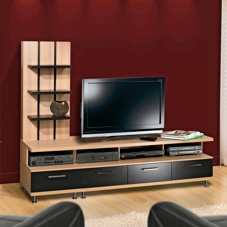 Great Best Red TV Cabinets Throughout Modern Black Wooden Tv Cabinets With Rack For Wall Partition (Image 23 of 50)