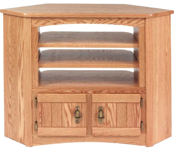 Great Best Solid Oak TV Stands Pertaining To Solid Oak Mission Style Corner Tv Cabinet Traditional (View 45 of 50)