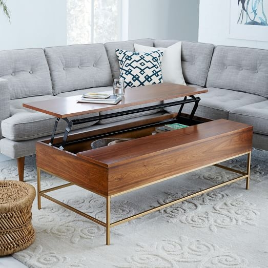Great Best Storage Coffee Tables Inside Storage Coffee Table Walnutantique Brass West Elm (View 10 of 50)