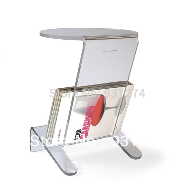 Great Brand New Acrylic Coffee Tables With Magazine Rack Throughout Aliexpress Buy Acrylic Side Table With Magazine Rack Coffee (View 17 of 40)