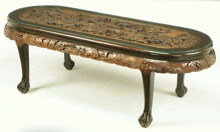 Great Brand New Chinese Coffee Tables For Chinese Oval Coffee Table With Hand Carved Battle Scene And Six (Image 22 of 50)