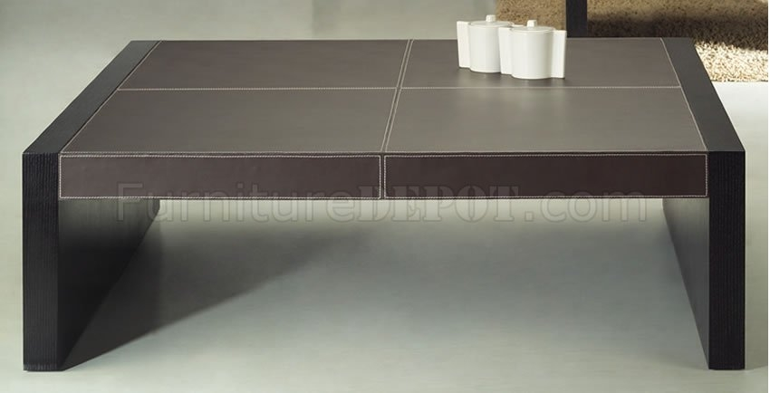 Great Brand New Dark Brown Coffee Tables Intended For Modern Dark Brown Faux Leather Upholstered Coffee Table (Image 21 of 50)