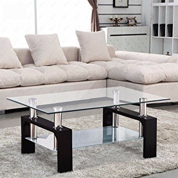 Great Brand New Glass Coffee Tables With Shelf Intended For Amazon Virrea Glass Coffee Table Shelf Chrome Base Living (View 36 of 50)