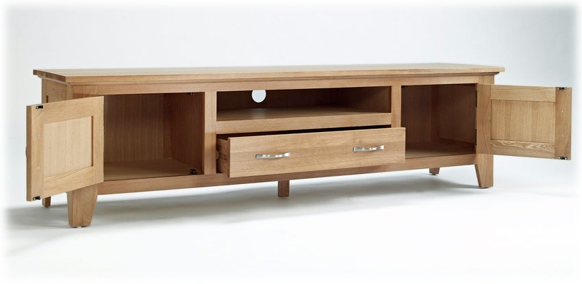 Great Brand New Long Oak TV Stands Throughout Best Large Tv Cabinets Flat Screen Tv Stands And Cabinets Guide (Image 20 of 50)