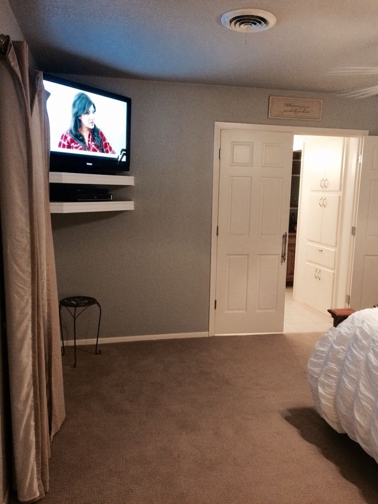 Tv With Floating Shelves In Bedroom