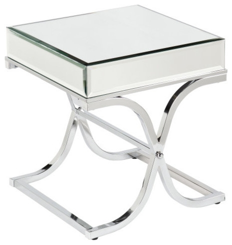 Great Common Ava Coffee Tables For Ava Mirrored End Table Chrome Contemporary Side Tables And (View 10 of 50)