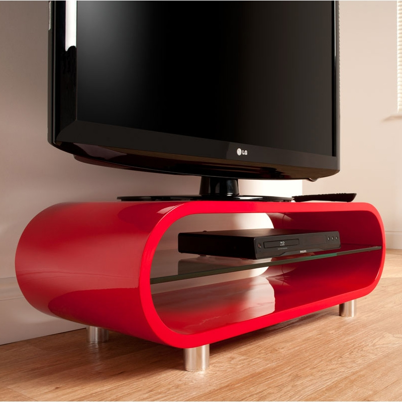 Great Common Black And Red TV Stands With Regard To Techlink Ov95r Ovid 37 Tv Stand In Red (View 8 of 50)