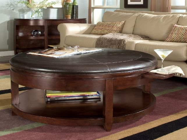 Great Common Brown Leather Ottoman Coffee Tables With Storages In Lovable Round Ottoman Coffee Table Round Tufted Coffee Table (Image 13 of 40)