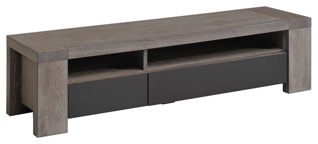 Great Common Contemporary Oak TV Stands Regarding Bristol Gray French Oak Tv Stand Contemporary Entertainment (Image 24 of 50)