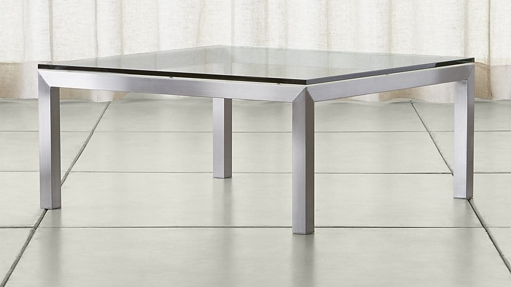 Great Common Glass Steel Coffee Tables Inside Parsons Clear Glass Top Stainless Steel Base 36×36 Square Coffee (Image 21 of 50)