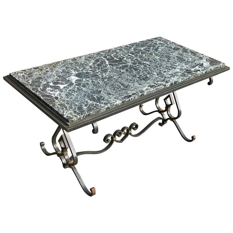 Great Common Marble And Metal Coffee Tables Pertaining To Great Shape Mid Century Vintage Wrought Iron Coffee Table With (Image 23 of 40)
