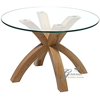 Great Common Oak And Glass Coffee Tables In Hartleys Solid Oak Tripod Base Round Glass Coffee Table Amazonco (View 40 of 50)