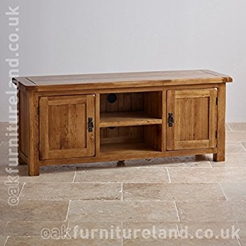 Great Common Oak TV Cabinets With Original Rustic Solid Oak Widescreen Tv Cabinet Amazoncouk (Image 20 of 50)