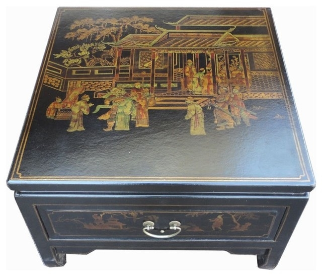 Great Deluxe Asian Coffee Tables Regarding Black Square Asian Coffee Table Furniture Collectibles Sold (View 40 of 40)