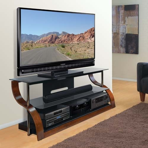 Great Deluxe Black Glass TV Stands With Regard To Bello Curved Wood And Black Glass Tv Stand For 73 Inch Screens (View 20 of 50)