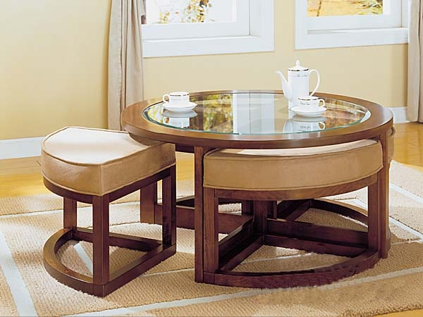 Great Deluxe Coffee Tables With Seating And Storage With Decor Of Round Coffee Table With Ottomans With Popular Of Round (Image 32 of 50)
