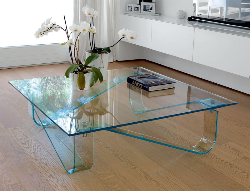 Great Deluxe Contemporary Glass Coffee Tables  In Unico Contemporary Glass Wind Coffee Table With Curved Legs (Image 23 of 50)