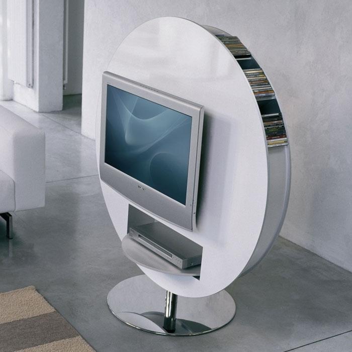 Great Deluxe Gloss White TV Stands In Bonaldo Vision Swivel Tv Stand Glossy White Panik Design (Image 21 of 50)