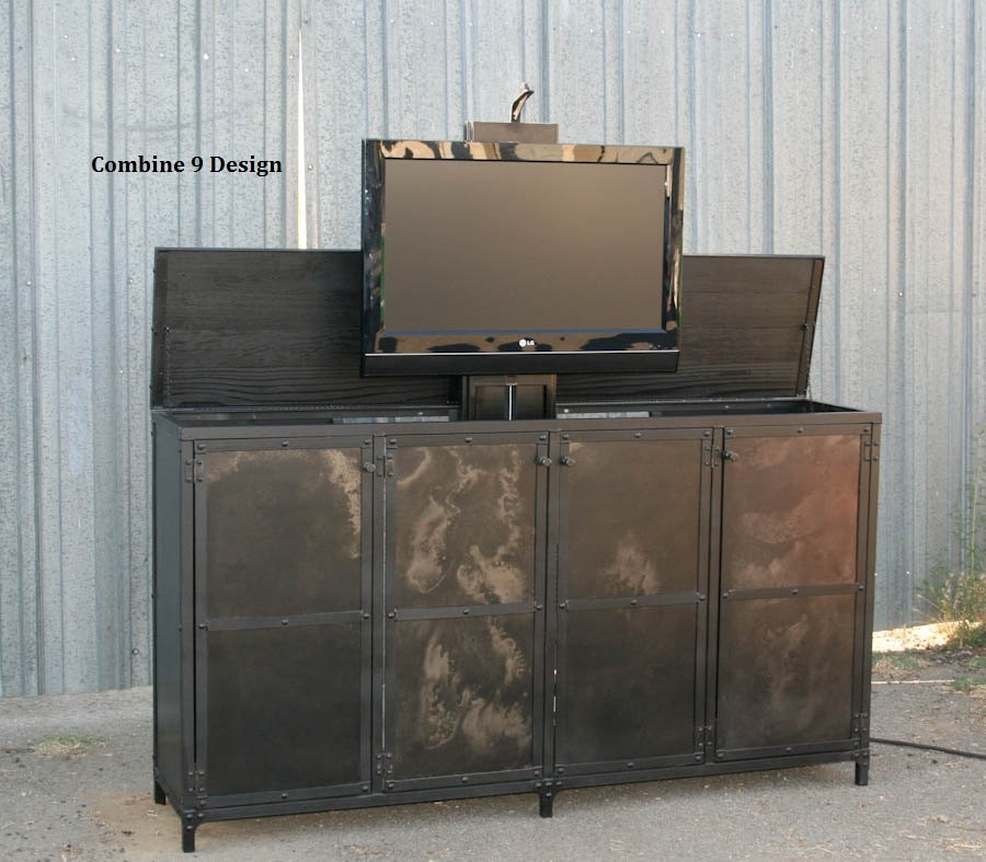 Great Deluxe Industrial Metal TV Cabinets Throughout Tv Lift Cabinet Pop Up Tv Media Console Hideaway Tv (Image 25 of 50)