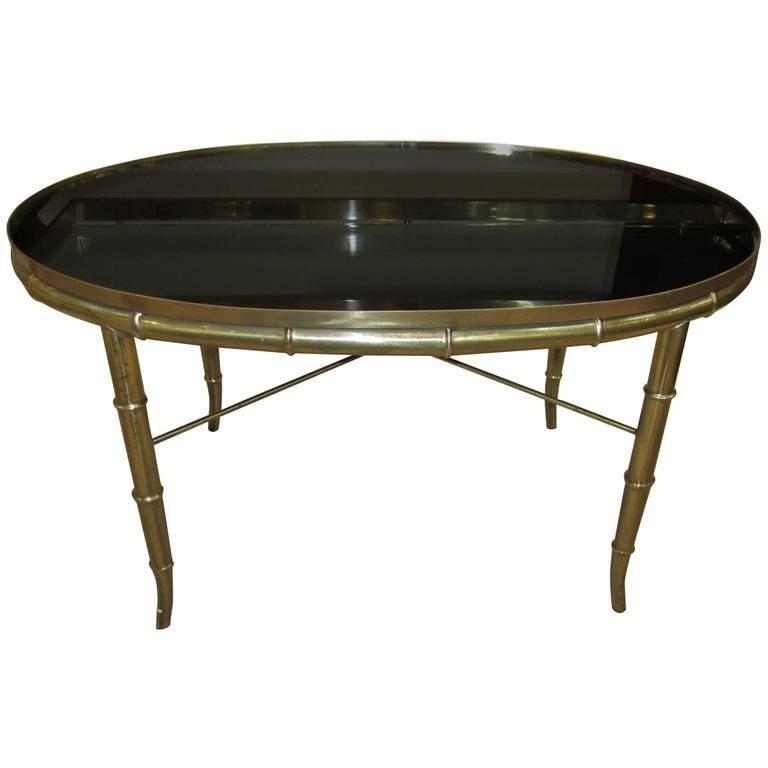 Great Deluxe Retro Glass Top Coffee Tables Intended For Vintage Italian Brass Cocktail Table With Black Mirror Glass Top (Image 16 of 40)