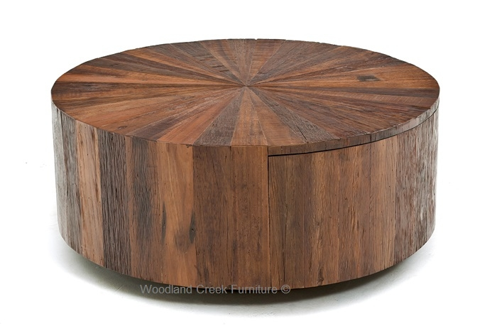 Great Deluxe Round Coffee Tables With Drawers With Round Wood Coffee Table With Drawer Modern Rustic Design (Image 21 of 50)