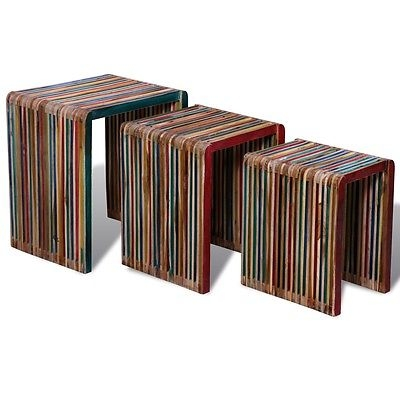 Great Deluxe Stackable Coffee Tables With New 3pc Reclaimed Teak Timber Nesting Bedside Table Coffee Side (View 40 of 50)