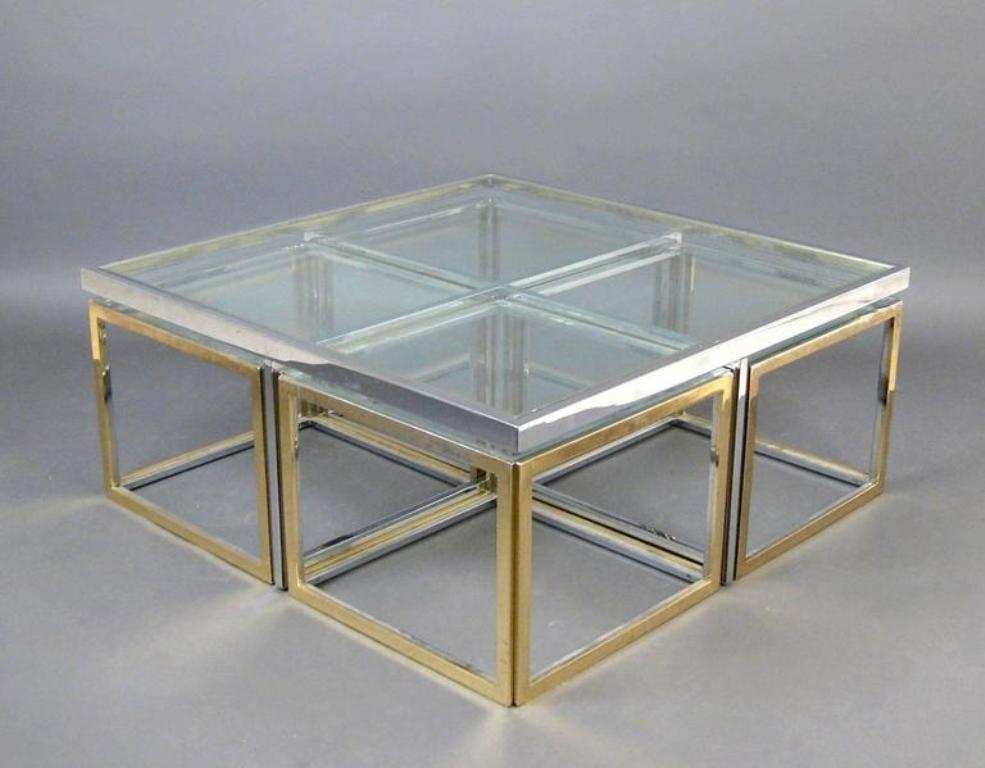 Great Elite Glass And Metal Coffee Tables Throughout Vintage Large Glass And Metal Coffee Table For Sale At Pamono (View 5 of 50)