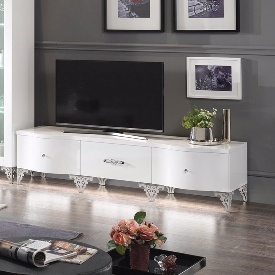 Great Elite High Gloss White TV Stands For Hazel Tv Stand In White High Gloss With Chrome Legs  (Image 20 of 50)