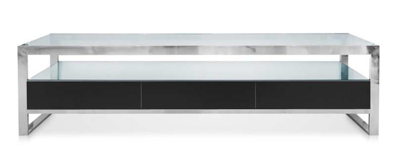 Great Elite Modern Black TV Stands Inside Space Saving Modern Strada Modern Tv Stand Black (View 34 of 50)