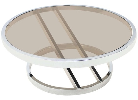 Great Elite Round Chrome Coffee Tables Inside Round Glass And Chrome Coffee Table Jericho Mafjar Project (Image 16 of 50)