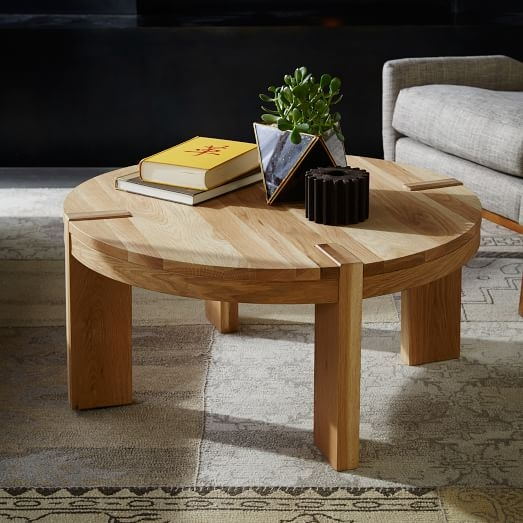 Great Elite Round Oak Coffee Tables Within Boerum Round Coffee Table Solid Oak West Elm (Image 20 of 40)