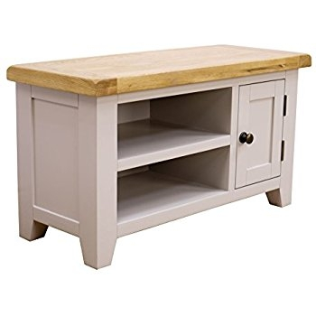 Great Elite Small Oak TV Cabinets With Arklow Painted Oak Dovetail Grey Small Tv Stand Oak Tv Cabinet (View 8 of 50)