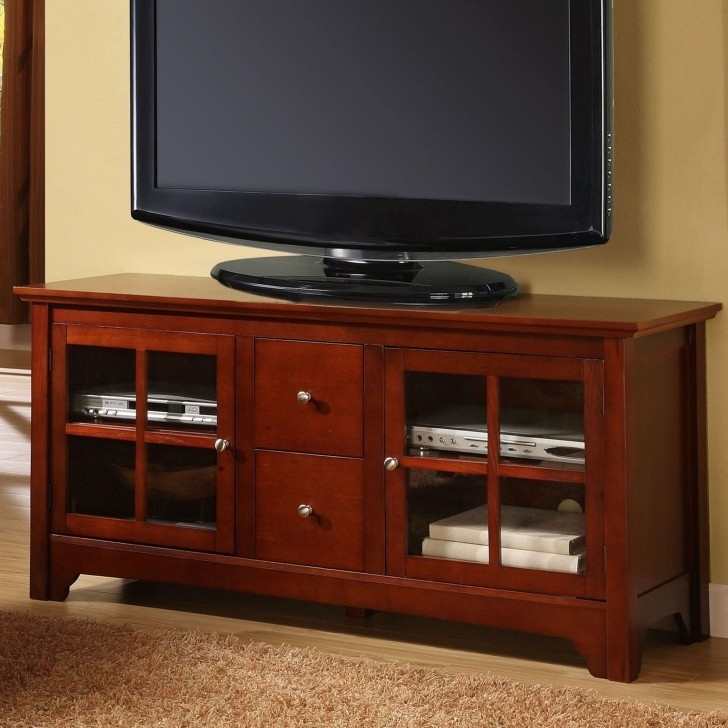 Great Elite Wooden TV Cabinets With Glass Doors Within Stained Brown Wooden Tv Stand With Two Shelves On The Top Combined (Image 29 of 50)