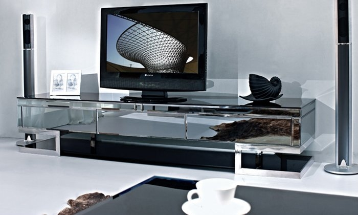 Great Famous Glass TV Cabinets Throughout Tv Cabinetstainless Steel Black Painted Tempered Glass Side (Image 27 of 50)