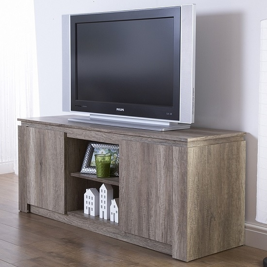 Great Famous Grey Wood TV Stands In Caister Wooden Lcd Tv Stand In Oak With 2 Doors  (Image 28 of 50)