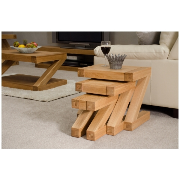 Great Famous Nest Coffee Tables For Zouk Solid Oak Designer Furniture Nest Of Three Coffee Tables Ebay (Image 16 of 50)