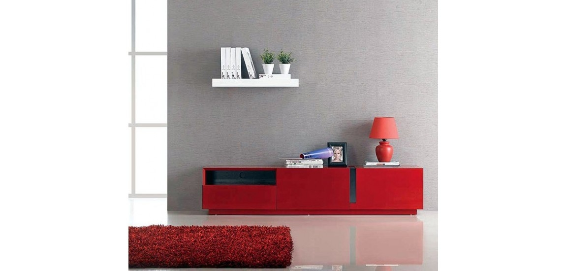 Great Famous Red TV Stands With Regard To T027 Contemporary Long Tv Stand In Red Gloss Finish (Image 22 of 50)